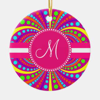 Bold Monogram Funky Pattern Hot Pink Design Double-Sided Ceramic Round Christmas Ornament