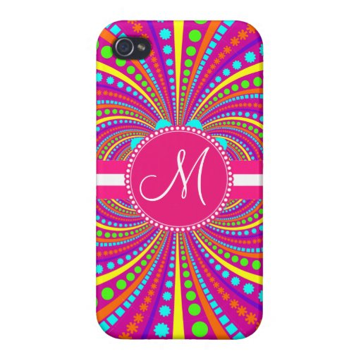 Bold Monogram Funky Pattern Hot Pink Design iPhone 4 Cover