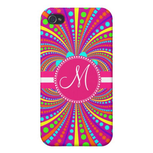Bold Monogram Funky Pattern Hot Pink Design Covers For iPhone 4