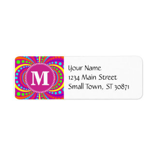 Bold Monogram Funky Pattern Hot Pink Design Label