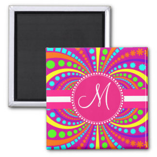 Bold Monogram Funky Pattern Hot Pink Design Magnet