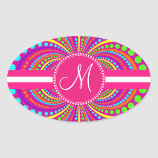 Bold Monogram Funky Pattern Hot Pink Design Oval Sticker