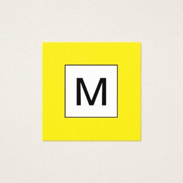 Professional Business Bold monogram minimalist yellow business card