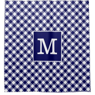 Bold Monogram Navy Blue and White Gingham Pattern Shower Curtain