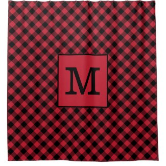 Bold Monogram Red and Black Buffalo Check Pattern Shower Curtain