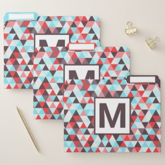 Bold Monogrammed Triangle Geometric Pattern File Folder