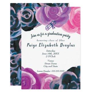 Bold Multicolored Rose Graduation Invitations