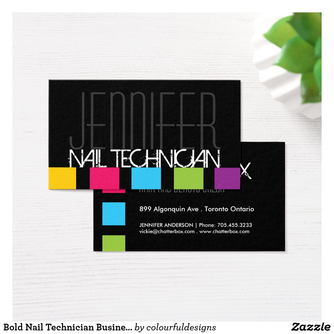 Bold Nail Technician Business Card