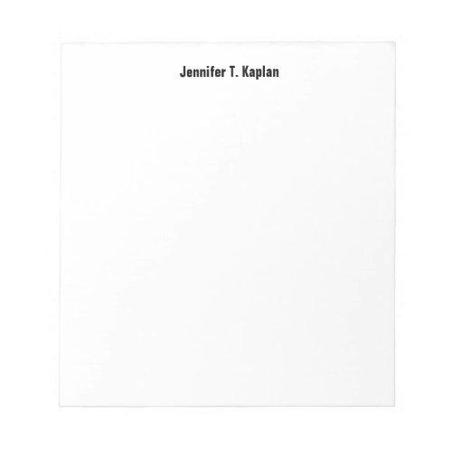 Bold Name Plain Simple Professional Modern Minimal Notepad