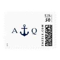 Bold Nautical Theme Monogram Postage