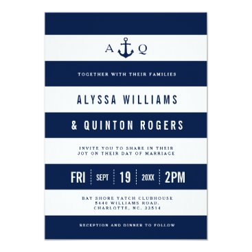 Bold Nautical Theme Navy Stripes Wedding Invite