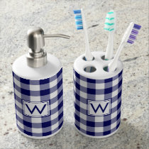 Bold Navy and White Gingham Pattern with Monogram Bath Set