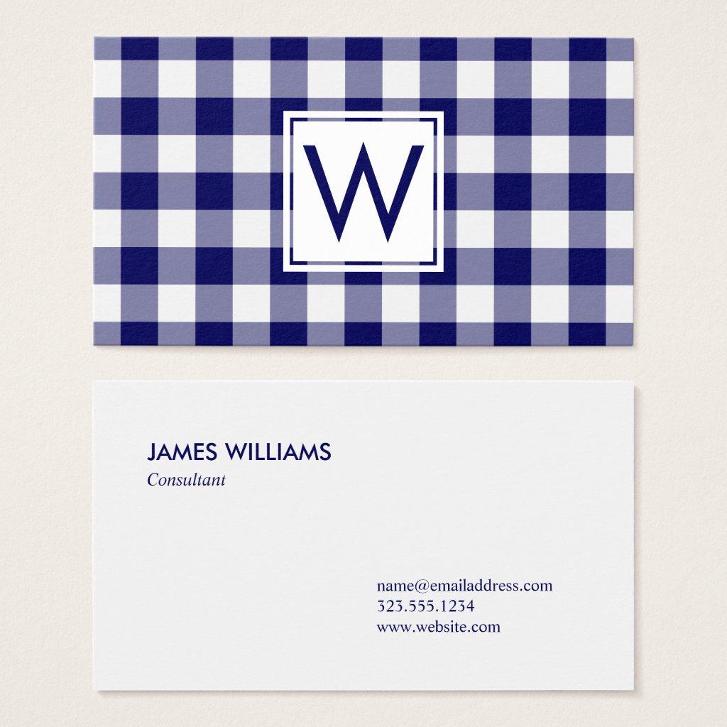 Bold Navy Blue Buffalo Plaid Pattern Monogram Business Card