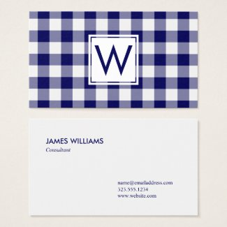 Bold Navy Blue Buffalo Plaid Pattern Monogram Business Card