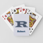 Bold Navy Blue Letter R Monogram Initial Playing Cards