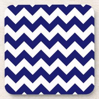 Bold Navy Blue & White Chevron Zig-Zag Pattern Drink Coaster