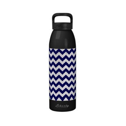 Bold Navy Blue & White Chevron Zig-Zag Pattern Drinking Bottle