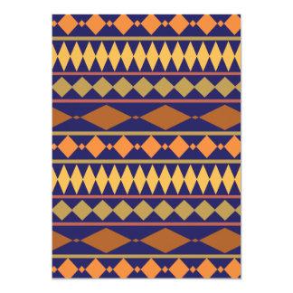 Bold Navy Rust Geometric Tribal Pattern 5x7 Paper Invitation Card