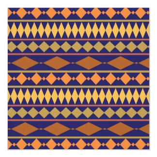 Bold Navy Rust Geometric Tribal Pattern Invitation