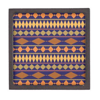 Bold Navy Rust Geometric Tribal Pattern Jewelry Box