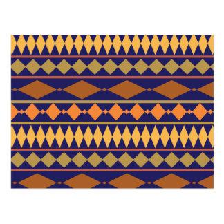 Bold Navy Rust Geometric Tribal Pattern Postcard