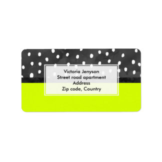 Bold neon lime color block black white polka dots label