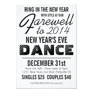 Bold New Years Eve Dance Party 5x7 Paper Invitation Card