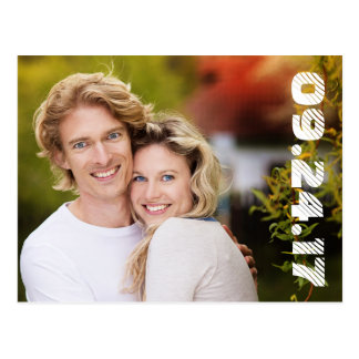 Bold Numbers Photo Save the Date Postcard / White