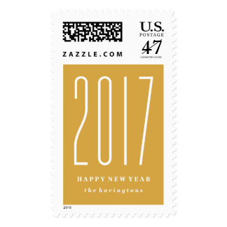 Bold Numerals New Year's Postage Stamp - Marigold