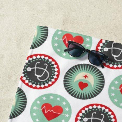 Bold Nurse Pattern - LPN RN Healthcare Beach Towel