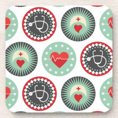 Bold Nurse Pattern - LPN RN Healthcare Beverage Coaster