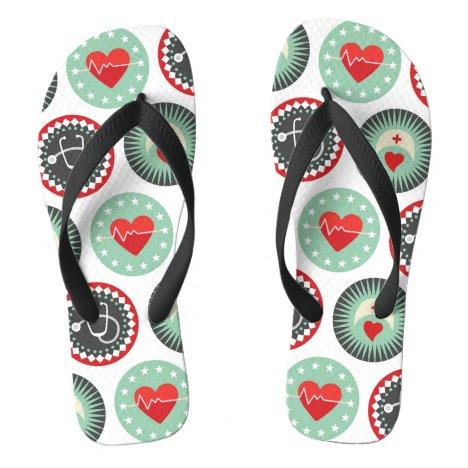 Bold Nurse Pattern - LPN RN Healthcare Flip Flops