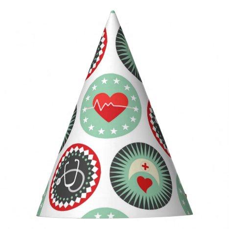 Bold Nurse Pattern - LPN RN Healthcare Party Hat