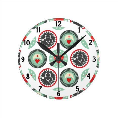 Bold Nurse Pattern - LPN RN Healthcare Round Clock