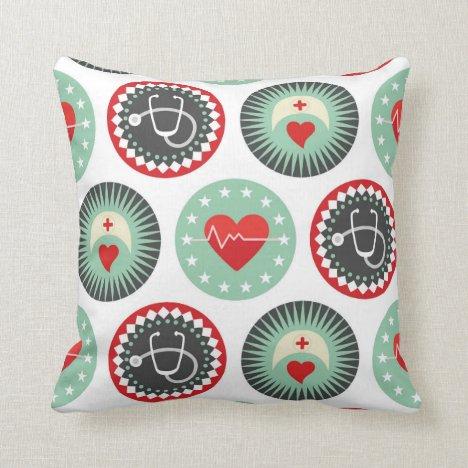 Bold Nurse Pattern - LPN RN Healthcare Throw Pillow