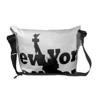 Bold NYC Messenger Bag Statue of Liberty B/W
