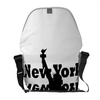 Bold NYC Messenger Bag Statue of Liberty B/W 2