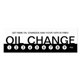 bold OIL CHANGE customer loyalty Double-Sided Mini Business Cards (Pack Of 20)