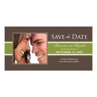 Bold Olive Green Stripe Save the Date Announcement Photo Card