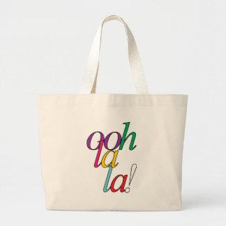 """Bold """"ooh La la!"""" in bright multi colors Large Tote Bag"""