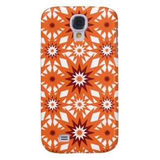 Bold Orange and Red Stars Starburst Pattern Galaxy S4 Case