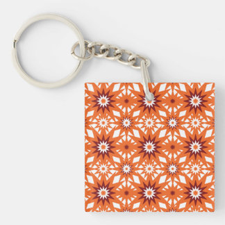Bold Orange and Red Stars Starburst Pattern Double-Sided Square Acrylic Keychain