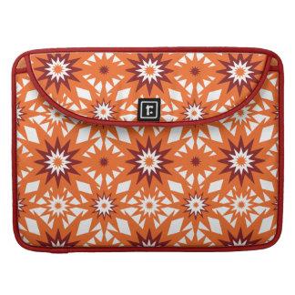 Bold Orange and Red Stars Starburst Pattern MacBook Pro Sleeve