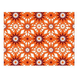 Bold Orange and Red Stars Starburst Pattern Postcard