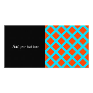 Bold Orange and Turquoise Blue Diamonds Pattern Card