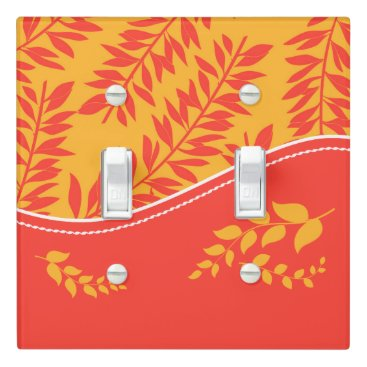 Beach Themed Bold Orange and Yellow in a Tropical Leafy Theme Light Switch Cover