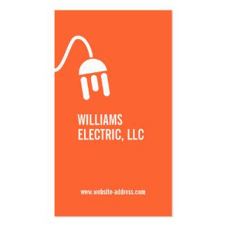 BOLD ORANGE ELECTRICIAN MODERN BUSINESS CARD