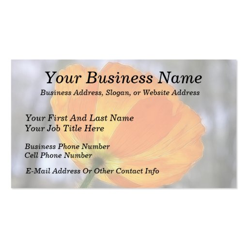 Bold Orange Iceland Poppy Double-Sided Standard Business Cards (Pack Of 100)