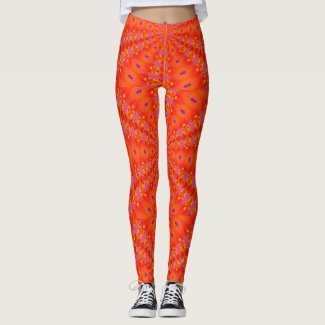 Bold Orange Pattern Yoga Gym Exercise Leggings