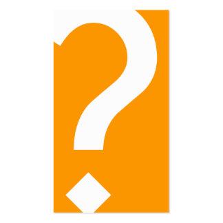 bold orange question mark business card